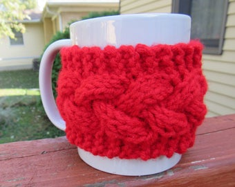 Knitted mug cozy/coffee cup cozy