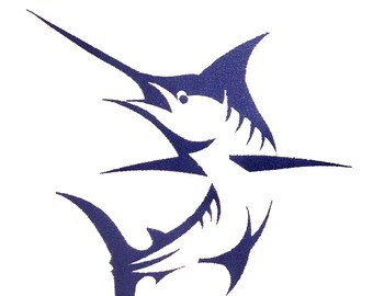 One Color Marlin Fish Embroidery Design