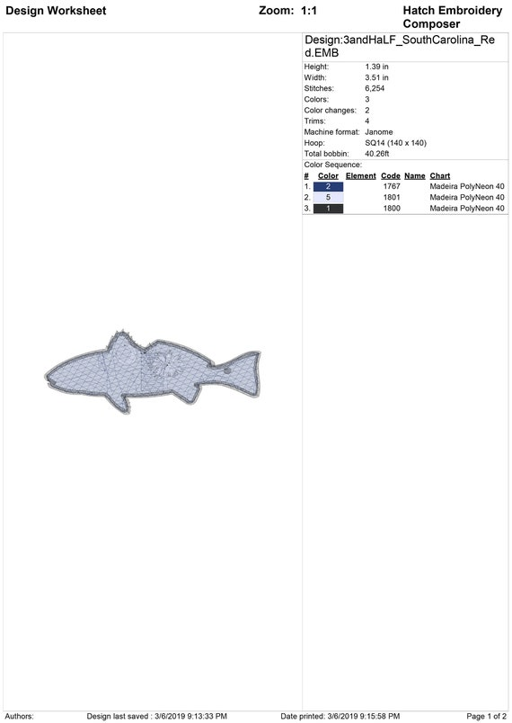 South Carolina Flag Speckled Trout Embroidery Design