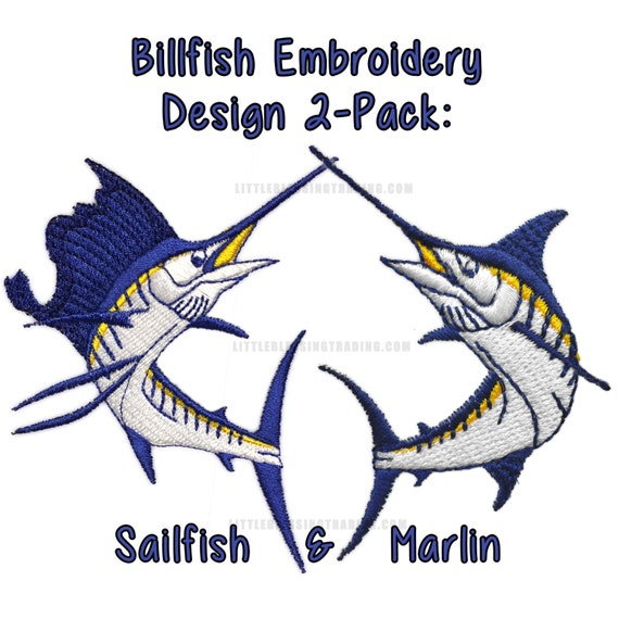 Pez vela y Marlin bordado diseñan 2-pack   Etsy