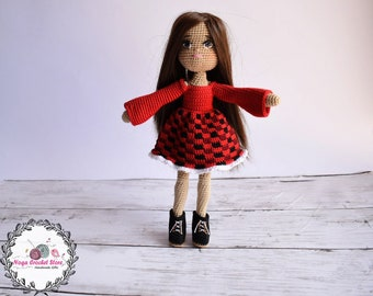 Crochet Christmas doll pattern Basic doll with plaid red dress