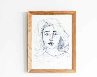 hand printed art nude face ,for calm lady office decor