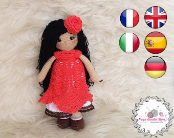 Crochet doll in red dress amigurumi Pattern