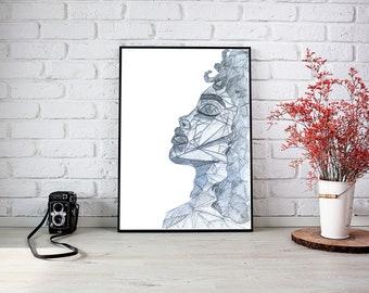 Hand printable wall art Geometric abstract girl