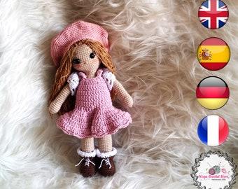 Crochet doll in pink dress amigurumi pattern