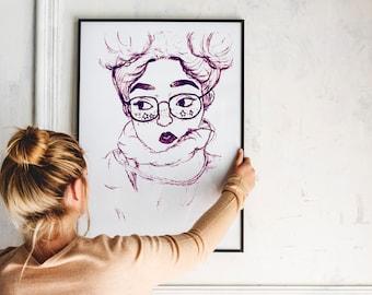 Hand printable wall art anime girl for girly room