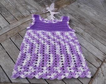 PDF crochet instructions, crochet dress in purple gr.86-92(98-104)110-116