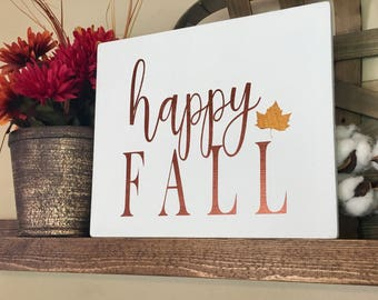Happy Fall Sign, Fall Sign, Fall Decor, Autumn Decor, Autumn Sign, Fall Signs, Thanksgiving Decor, Farmhouse Sign, Wood Sign