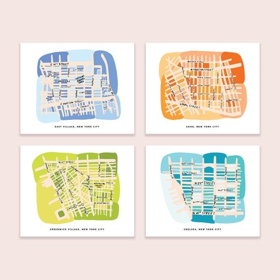 Soho, New York City Map Wall Art Print