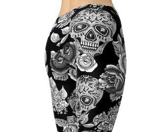 Day of the Dead Skeleton Skull Prints Cinco De Mayo Ornament Pattern Black and White Skull Leggings Skull Ornaments Ornamental Skull
