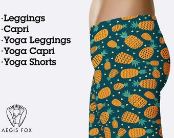 6eb9d82397f0c Orange pineapple leggings for women, fruit leggings, yoga pants, workout  leggings, printed leggings, hight waist leggings, yoga clothing