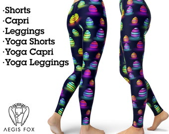 Rabbit Easter Chicken Colors Yoga Tights Short Running Pants Workout