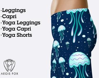 a628e62a2271a2 Sea green jellyfish leggings for women, yoga leggings, yoga pants, workout  leggings, printed leggings, capri leggings, animal leggings
