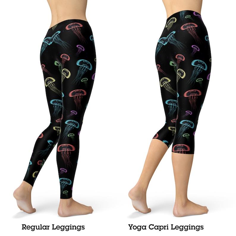f4d6776ed9e6 Neon jellyfish leggings for women yoga leggings yoga pants | Etsy
