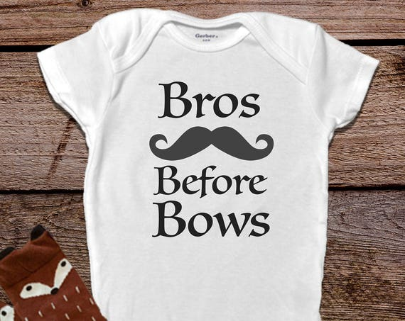 Bros Before BowsOnesies®, Funny Baby Onesies®,  Baby Boy Clothes, Hipster Baby Clothes, Mustache Onesie®, Trendy Baby Clothes, Unique Gift