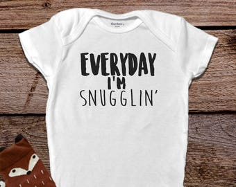 Everyday Im Snugglin Onesie®, Funny Baby Onesies®, Baby Shower Gift, Baby Boy Clothes, Baby Girl Clothes, Funny Baby Clothes