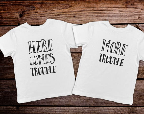 Here Comes Trouble, Funny Twin Toddler Shirts, Twin Toddler Clothes, Trendy Twin Clothes, Hipster Twin Clothes, Toddler Twin Outfits