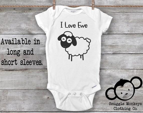 I Love Ewe Sheep Onesie®, Funny Baby Onesie®, Sheep Baby Clothes, Sheep Baby Shower, Farm Baby Clothes, Farm Onesie®, Country Baby Clothes