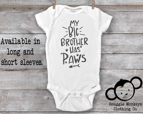 My Big Brother Has Paws Onesie®, Cat Onesie®, Fur Baby Onesie®, Crazy Cat Baby, Show Me Your Kitties, Funny Baby Onesie®, Baby Shower Gift
