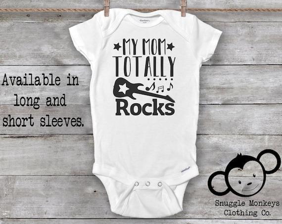 Funny Baby Onesie®, Mom Rocks Onesie®, Guitar Onesie®, I Love Mommy Onesie®, Cute Baby Clothes, Unique Baby Gift, Unisex Baby Clothes