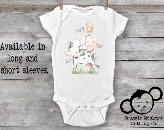 Cluck Oink Moo Onesie®, Farm Onesie®, Baby Farm Onesie®, Country Baby Clothes, Cow Baby Clothes, Cow Baby Shower Gift, Country Girl Onesie®