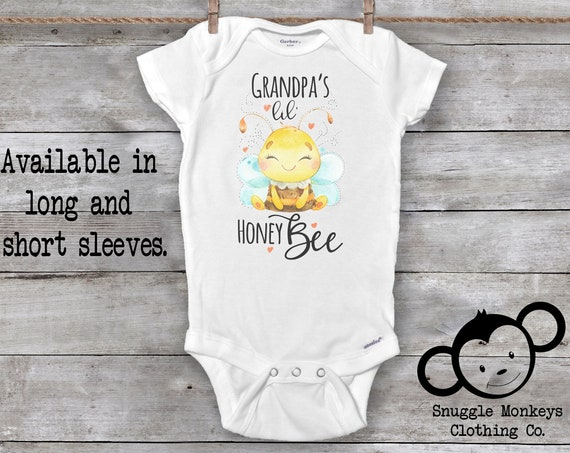 Grandpa Baby Onesie®, Grandpa Loves Me Onesie, I Love My Grandpa Onesie, Honey Bee Onesie, Baby Shower Gift, Grandpa's Valentine, Bee Outfit