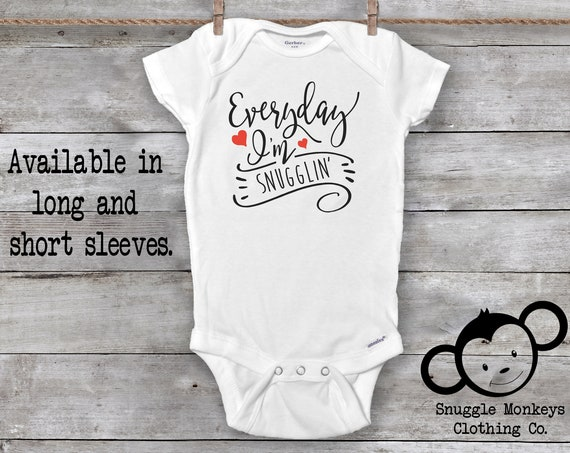 Everyday Im Snugglin Onesie®, Funny Baby Onesies®, Baby Shower Gift, Unique Baby Gift, Baby Girl Clothes, Funny Baby Clothes, Witty Onesie®