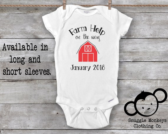 Farm Help On the Way, Pregnancy Announcement Onesie®, Pregnancy Reveal Onesie®, Country Baby Clothes, Farm Onesie®, Farm Baby Clothes