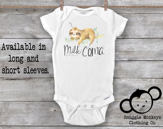 Sloth Onesie®, Funny Baby Onesie, Sloth Baby Clothes, Baby Shower Gift, Animal Baby Clothes, Sloth Baby Outfit, Cute Baby Clothes, Milk Coma