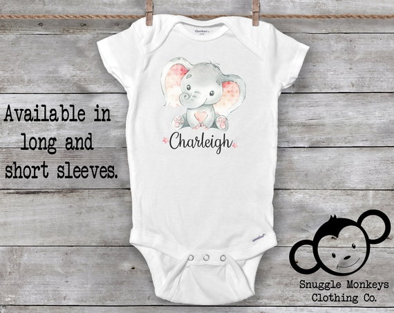 Baby Name Onesie®, Personalized Baby Gifts, Elephant Baby Clothes, Baby Girl Clothes, Unique Baby Gift, Baby Keepsake, Baby Shower Gift