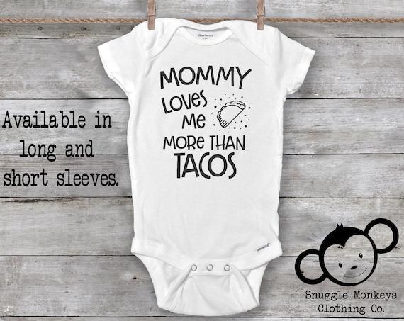 Mommy Loves Me Onesie®, Taco Onesie, Funny Baby Onesie, Mommy Baby Clothes, Taco Tuesday Onesie, Baby Shower Gift, Mommy Onesie, Baby Onesie