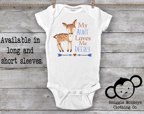 My Aunt Loves Me Onesie®, Aunt Onesie®, Aunt Baby Boy Clothes, Boho Baby Clothes, Aunt to be Onesie®, I love my Aunt, Baby Boy, Deer Onesie