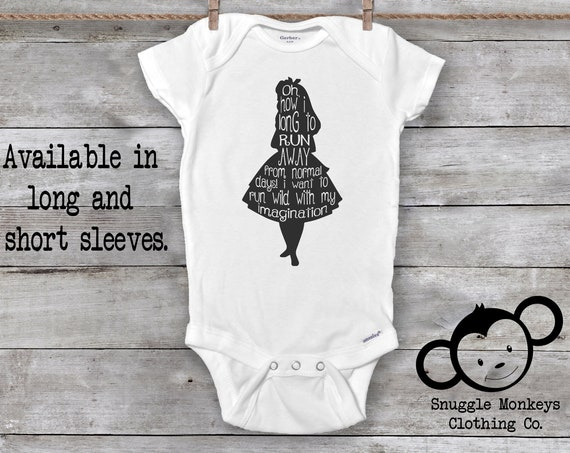 Alice in Wonderland Onesie®, Baby Girl Onesie®, Baby Shower Gift, Baby Girl Clothes, Unique Baby Gift, Baby Girl Gift, She's a wildflower