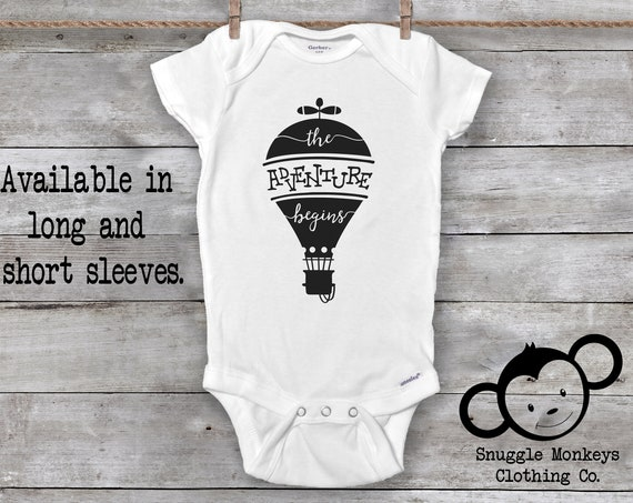 The Adventure Begins Onesie®, Baby Boy Clothes, Baby Shower Gift, Baby Girl Clothes, Hipster Baby Clothes, Hot Air Balloon Baby Clothes