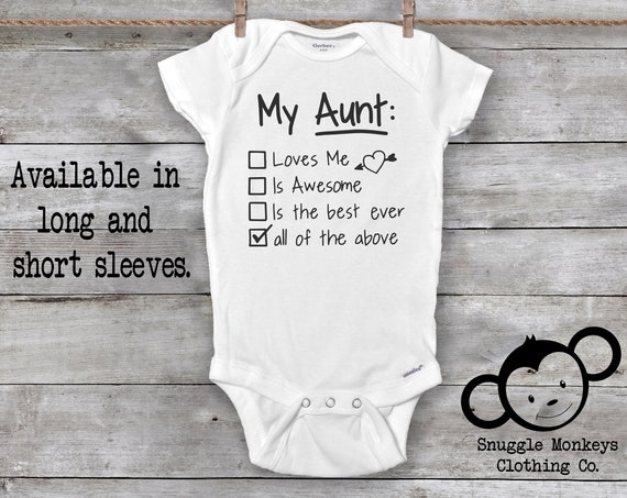 Aunt Onesie®, Funny Baby Onesie, Aunt Baby Gift, Aunt Baby Clothes, Baby Shower Gift, Aunt Baby Shirts, Aunt Baby Outfit, Cute Baby Clothes