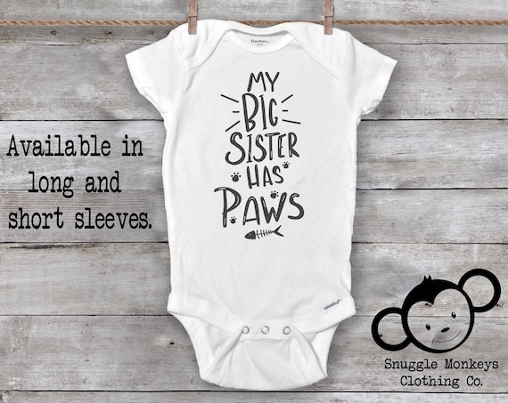 My Big Sister Has Paws Onesie®, Cat Onesie®, Crazy Cat Baby, The Cat Did it, Funny Cat Onesie, Baby Shower Gift, Unisex Baby Clothes