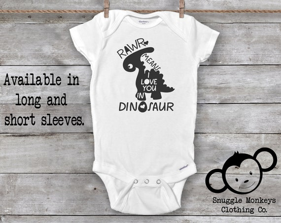 Dinosaur Onesie®, Dinosaur Baby Outfit, Funny Baby Onesie®,Baby Boy Clothes, Baby Shower Gift, Dinosaur Baby Clothes, Rawr means I love you