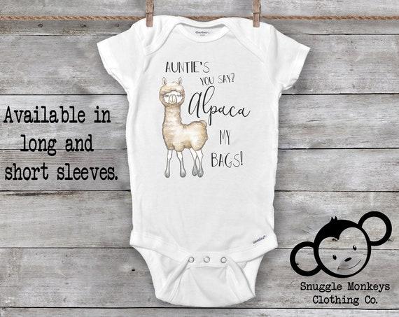 Auntie Onesie®, Funny Baby Onesie, Alpaca Onesie, My Auntie Loves Me Onesie, Alpaca My Bags Onesie, Baby Shower Gift, I Love My Aunt Onesie®