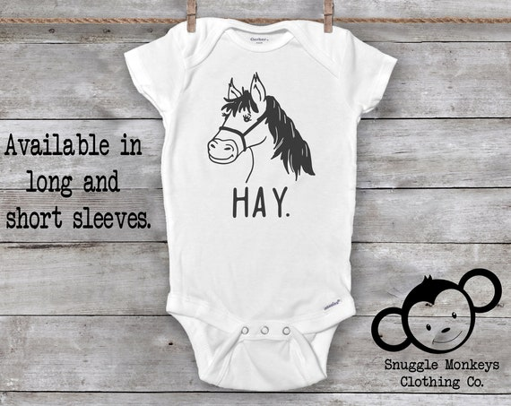 Hi Onesie®. Funny Baby Onesie, Horse Onesie, Unique Baby Gift, Equestrian Baby Clothes, Unisex Baby Clothes, Baby Shower Gift