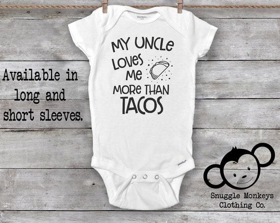 Uncle Onesie®, Taco Onesie®, Funny Baby Onesie®, Cool Like My Uncle Onesie®, My Uncle Loves Me Onesie®, Taco Tuesday Onesie®, Baby Shower