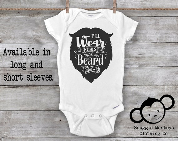 Waiting for My Beard Onesie®, Bearded Daddy Onesies®, Fuzzy Daddy, Beard Baby Clothes, Hipster Onesie®, Beard Like Daddy, Baby Shower Gift