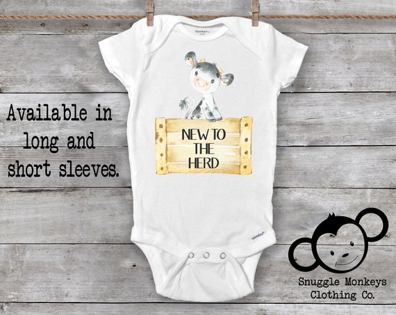 New To The Herd Onesie®, Funny Baby Onesie, Newborn Cow Outfit, Baby Shower Gift, Country Baby Clothes, Cow Onesie®
