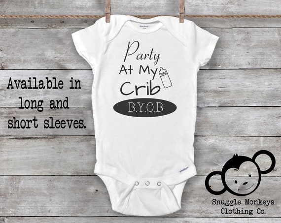 Party At My Crib Onesie®, Funny Baby Onesie®, Baby Girl Clothes, Baby Boy Clothes, Baby Shower Gift, Funny Baby Clothes, Funny Baby Gift