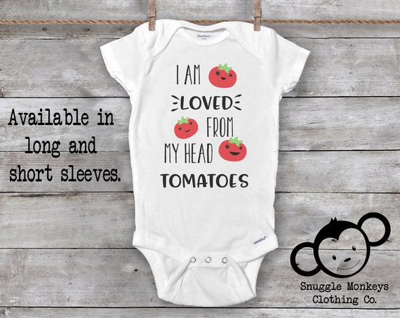 I Am Loved From My Head Tomatoes Onesie®, Funny Baby Onesies®, Tomato Onesie®, Hipster Baby,  Vegetable Onesie®, Country Baby Clothes, Farm