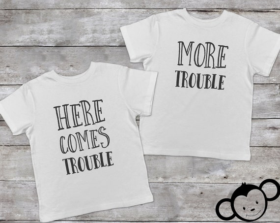 Here Comes Trouble, Double Trouble Toddler Shirts, Twin Toddler Shirts, Twin Toddler Gift, Funny Twin Shirts, Toddler Twin Outfits
