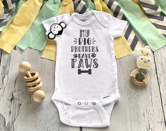 Retro 1970s Style Paw Silhouette Dog Baby Girl Long Sleeve Bodysuit Baby Rompers