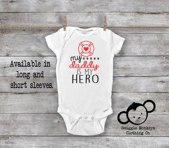 Baby unisex Daddys Fire Rescue My hero Fireman