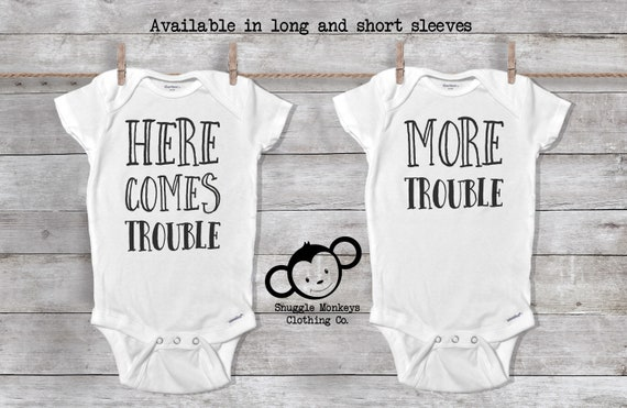 Here Comes Trouble Twin Onesies®, Baby Boy Twin Onesies®, Twin Boy Clothes, Twin Baby Shower Gift, Funny Twin Onesies®, Funny Twin Gift