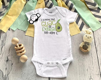 Guac Onesie®, Funny Baby Onesie®, Avacado Onesie®, Hipster Baby Clothes, Baby Shower Gift, Funny Baby Gift, Unisex Baby Gift, I'm Extra
