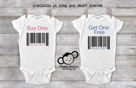 Buy One Get One Free Onesie®, Twin Onesies®, Twin Baby Shower, Twin Baby Gifts, Twin Baby Clothes, Twin Baby Girl and Boy, Baby Shower Gift